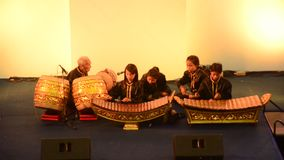 Thai students band playing traditional thai musical instruments concert show stock video footage
