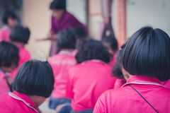 Thai students grade 4 in primary school are weaving pattern thai royalty free stock image