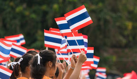 Thai students participating the ceremony of 100th aniversary of current Thai`s national flag.. In August,28. Thai government held ceremony of 100th anniversary Stock Photography