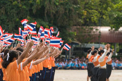 Thai students participating the ceremony of 100th aniversary of current Thai`s national flag.. In August,28. Thai government held ceremony of 100th anniversary Royalty Free Stock Image