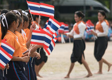 Thai students participating the ceremony of 100th aniversary of current Thai`s national flag.. In August,28. Thai government held ceremony of 100th anniversary Stock Image