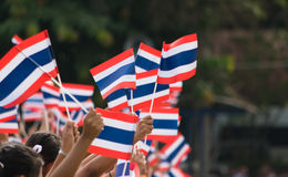 Thai students were waving Thai`s national flag. royalty free stock images