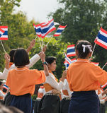 Thai students participating the ceremony of 100th aniversary of current Thai`s national flag.. In August,28. Thai government held ceremony of 100th anniversary Stock Images