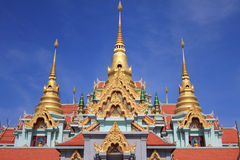 Thai stupa at north of Thailand. Ancient Thai temple and golden three pagoda Stock Images