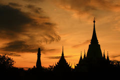 Thai style architecture  sunset Royalty Free Stock Photos