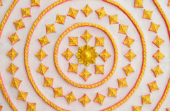 Thai Style art golden pattern on a wall in public temple Royalty Free Stock Photos