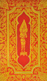 Thai style art painting on temple's door Stock Images
