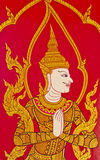 Thai style art painting on temple's door. In Thailand royalty free stock photo