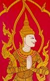 Thai style art painting on temple's door Royalty Free Stock Photo