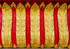 Thai style art in temple. Decoration on door and window frame Royalty Free Stock Photography