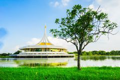 Thai style auditorium is middle of the water Stock Image