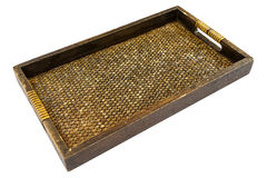 Thai style bamboo and wooden tray Royalty Free Stock Image