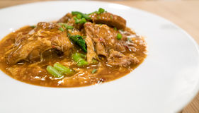 Thai style barbecue pork rib noodle. Stock Photography