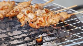 Thai style BBQ pork are grilled on the aluminium grid . Thai style BBQ pork fat are grilled on the aluminium grid with wood charcoal that some are burnt to stock image