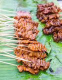 Thai style BBQ pork for sale. In local market Royalty Free Stock Photo