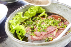 Thai style beef noodle food. Royalty Free Stock Photography