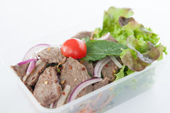 Thai take away food, Thai beef salad Royalty Free Stock Photos