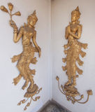 Thai style  carving art on temple wall. Royalty Free Stock Image