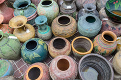 Thai style clay pot Royalty Free Stock Photos