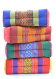 Thai style colorful cotton pillow isolated on white background Stock Photos