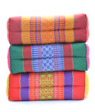 Thai style colorful cotton pillow isolated on white background Royalty Free Stock Images