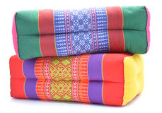 Thai style colorful cotton pillow isolated on white background Royalty Free Stock Photo