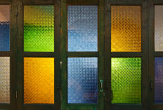 Thai style colorful glass door Royalty Free Stock Photo