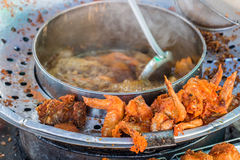 Thai style crispy deep fried chicken wings for sale in Thailand market Stock Photography