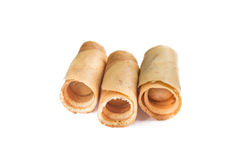 Thai style of crispy rolled crepes dessert Kanom Toky Royalty Free Stock Images