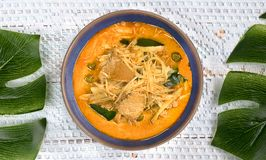 Thai style curry with fresh bamboo pork and coconut milk on whit stock images