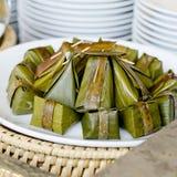 Thai style dessert, Khanom Sod-Sai (Steamed Flour with Coconut F Royalty Free Stock Photo