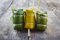 Thai style dessert, made from banana Stock Photos