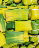 Thai style dessert made from Steamed Flour with Filling inside wrapped with banana leaf Stock Image