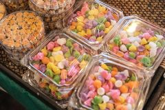 Thai style desserts in plastic boxes. Close up of Thai dessert stock photo