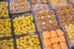 Thai style desserts in plastic boxes. Close up of Thai style dessert royalty free stock photography