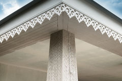Thai style Detail connection of roof tiles with gypsum board ceiling and eaves Stock Photos