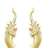 Thai style dragon statue, King of nagas statue on white Royalty Free Stock Photography