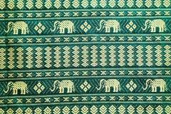 Thai Style Elephant Pattern Silk Textile Stock Photo