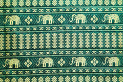thai style elephant pattern silk textile Stock Photo