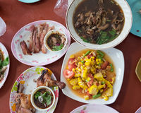 Thai style famous local the eastern food of Thailand. Grilled chicken, Papaya salad, Lap Moo or Pork spicy Thai style famous local the eastern food of Thailand royalty free stock images