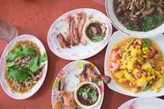 Thai style famous local the eastern food of Thailand. Grilled chicken, Papaya salad, Lap Moo or Pork spicy Thai style famous local the eastern food of Thailand Royalty Free Stock Image