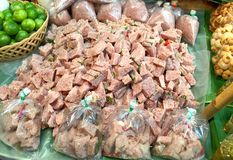 Thai-Style Fermented Sour Pork. On Banana Leaf Royalty Free Stock Photo