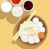 Thai style fish ball noodle and roast red pork without soup and condiment Stock Photos