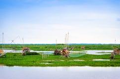 Thai style fishing trap in lake, Net Fishing Thailand, Thailand Shrimp Fishing, Northern East , Thailand. Royalty Free Stock Photos
