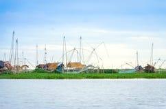 Thai style fishing trap in lake, Net Fishing Thailand, Thailand Shrimp Fishing, Northern East , Thailand. Stock Photo