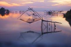 Thai style fishing trap. In Pak Pra Village, Net Fishing Thailand, Thailand Shrimp Fishing, Phatthalung, Thailand Stock Photos