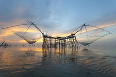 Thai style fishing trap. In Pak Pra Village, Net Fishing Thailand, Thailand Shrimp Fishing, Phatthalung, Thailand Royalty Free Stock Image
