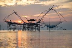 Thai style fishing trap. In Pak Pra Village, Net Fishing Thailand, Thailand Shrimp Fishing, Phatthalung, Thailand Stock Photography