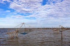 Thai style fishing trap in Pak Pra Village at Phatthalung province Thailand.  royalty free stock image