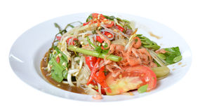 Thai style food. Som tam is favorite Thai  spicy food on white background Stock Photos